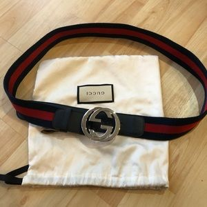 Gucci belt authentic red and navy  silver buckle